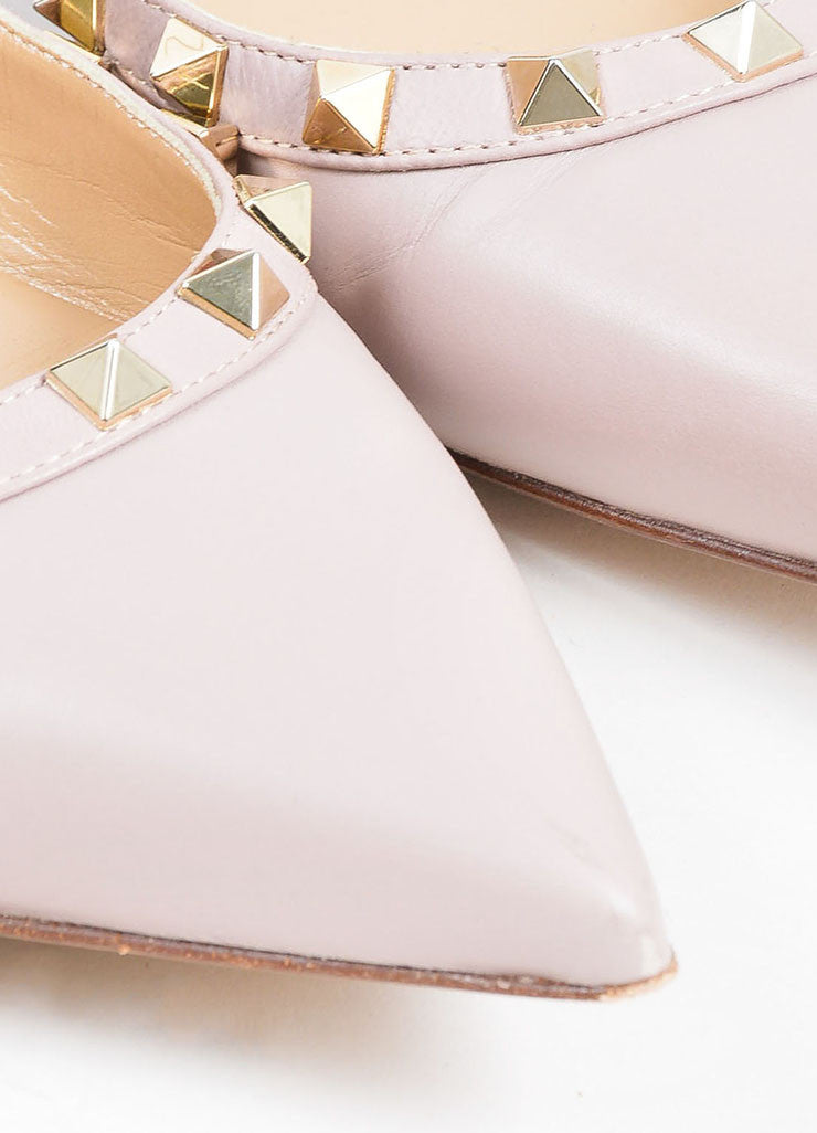 Blush Leather Valentino Rockstud Pointed Toe Flats Detail
