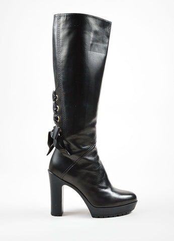 Black Valentino Garavani Leather Corset Detail Heeled Lug Sole Tall Boots Sideview