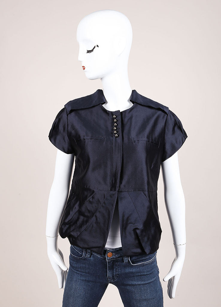 Valentino Navy Dot Stitch Wool and Silk Blend Cap Sleeve Paneled Zip Jacket Frontview