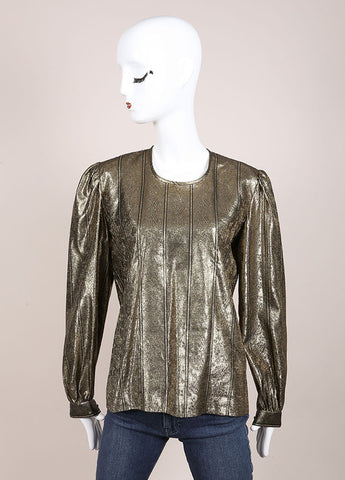 Valentino Gold Metallic Back Button Up Blouse Frontview