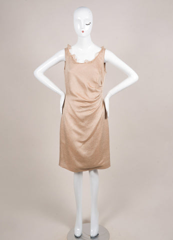 Valentino Nude Wool and Silk Woven Ruffle Gathered Sleeveless Sheath Dress Frontview