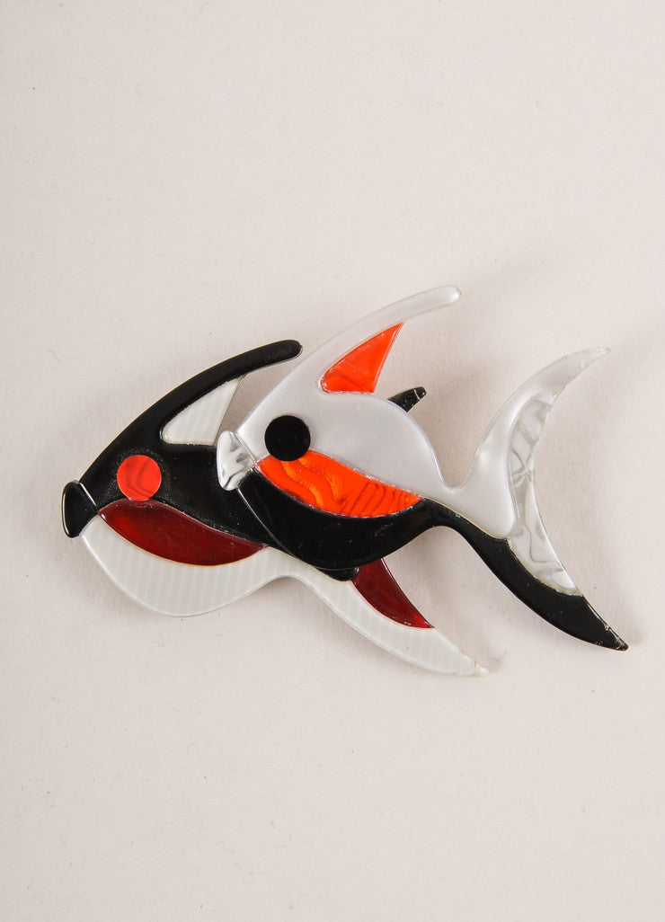 Lea Stein Grey, Black, and Red Acetate Double Fish Brooch Frontview