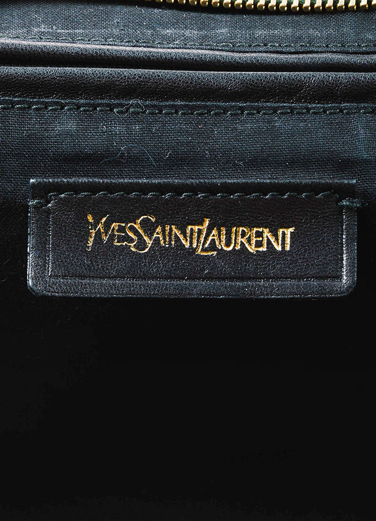 "Yves Saint Laurent Dark Green Gold Hardware ""Medium Cabas Chyc"" Bag Brand"