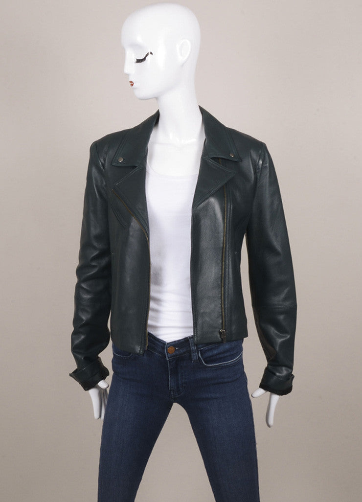 Veda Hunter Green Leather Moto Jacket Frontview