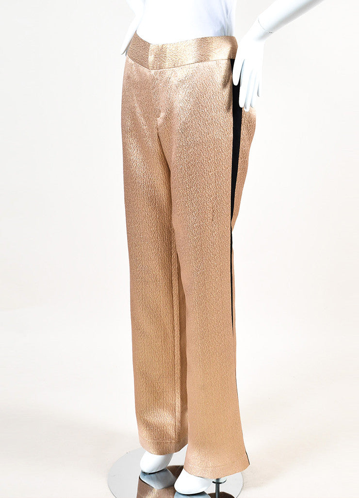 10 Crosby Derek Lam Nude and Metallic Gold Black Straight Leg Trousers Sideview