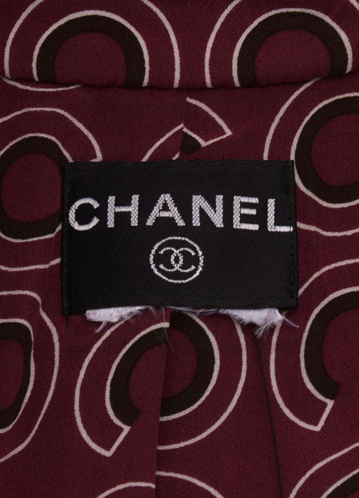 Chanel Maroon Button Front Long Sleeve Dressy Coat Brand