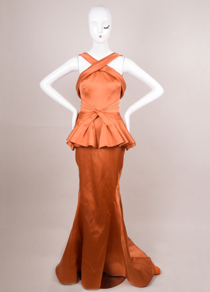 Rust Orange Duchess Satin Pleated Waist Evening Gown