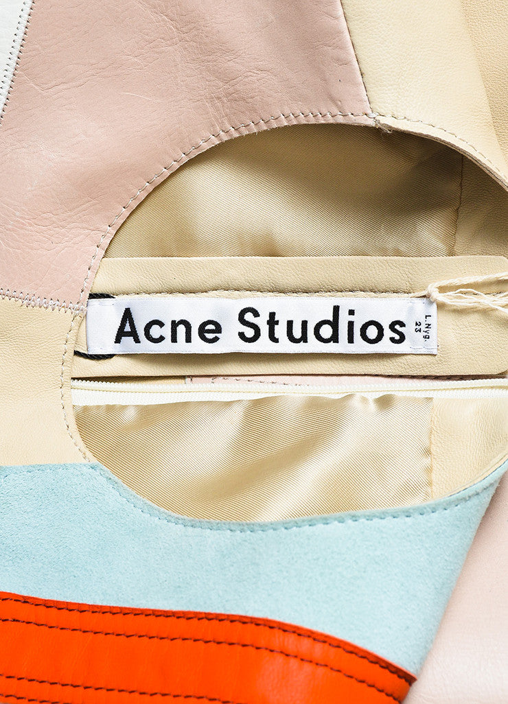 "Acne Studios Multicolor Leather Suede Patchwork ""Helima"" Dress Brand"