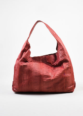 Adriana Castro Red Python Oversized Hobo Bag Frontview