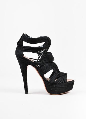 Alaia Black Suede Strappy Cutout Ultra High Platform Peep Toe Sandals Sideview
