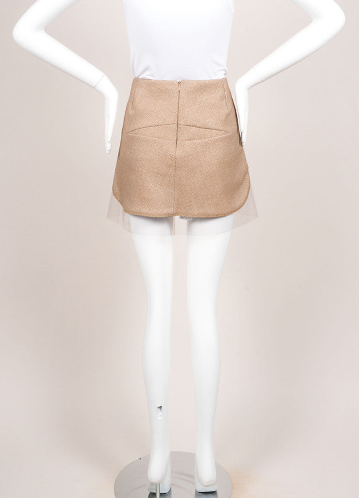 Alexander McQueen Brown and Cream Wool Gold Detail Plastic Trim Mini Skirt Backview