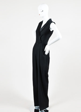 Black Alexander McQueen Wool and Silk Sleeveless Tuxedo Jumpsuit Sideview