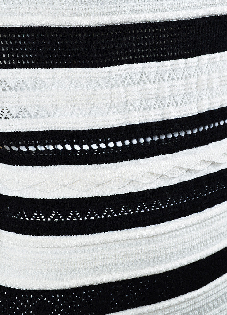Black and White Alexander McQueen Open Knit Striped Sweater Dress Detail