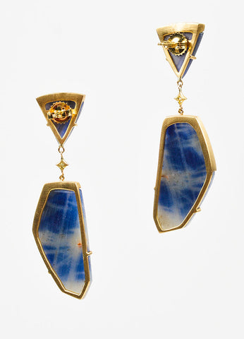 Anahita 18K Yellow Gold, Sliced Sapphire, and Diamond Geometric Drop Earrings Backview