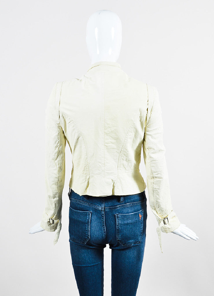 Cream Ann Demeulemeester Leather Crinkled Distressed Moto Jacket Backview