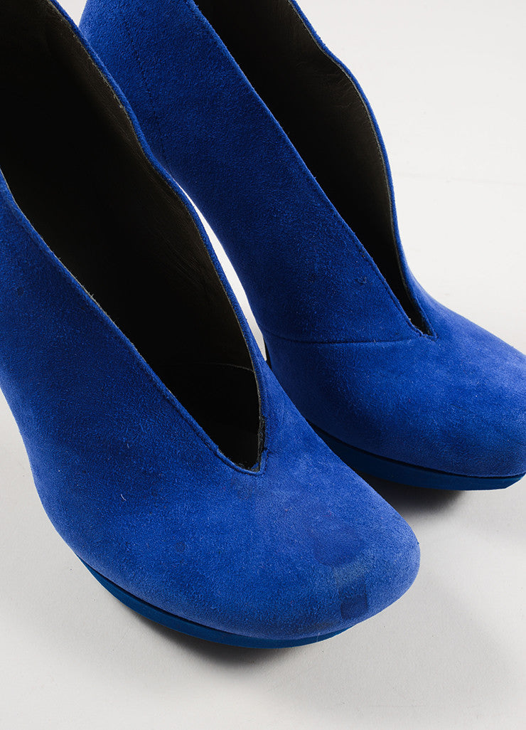 Balenciaga Blue Suede Square Toe Curved Heel Slit Platform Booties Detail