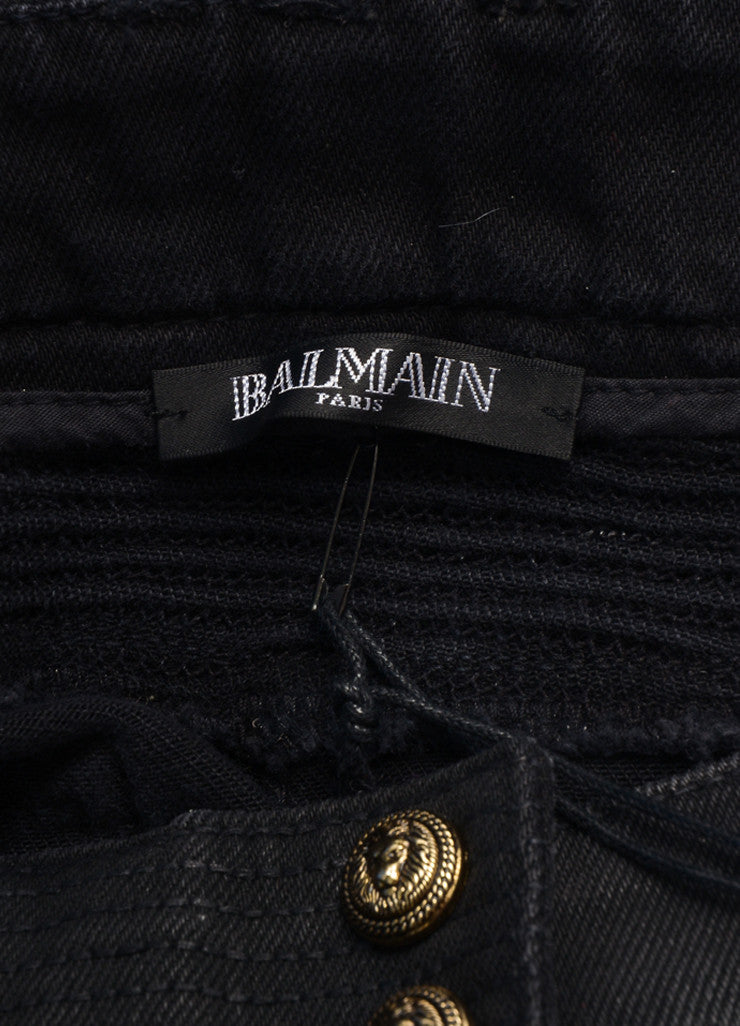 Balmain New With Tags Black Washed Stretch Cotton Quilted Moto Biker Pants Brand