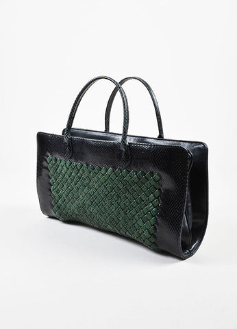 Bottega Veneta Green and Black Woven Leather Snakeskin Trim Two Compartment Handbag Sideview