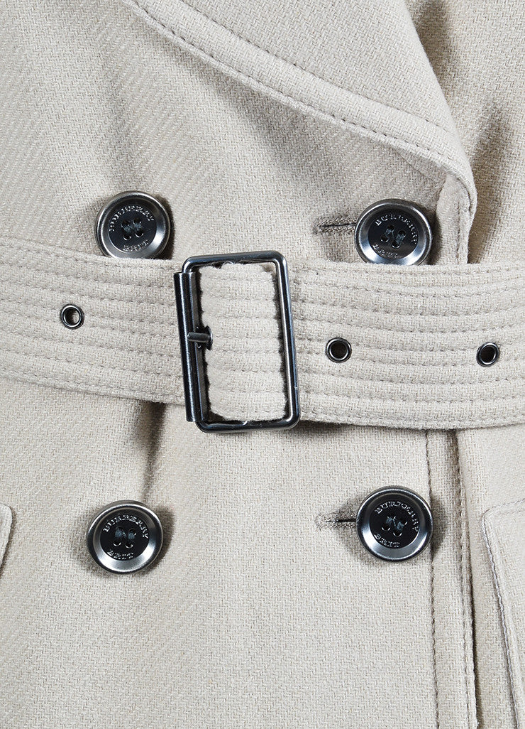 Beige Burberry Brit Double Breast Belt Trench Coat Detail