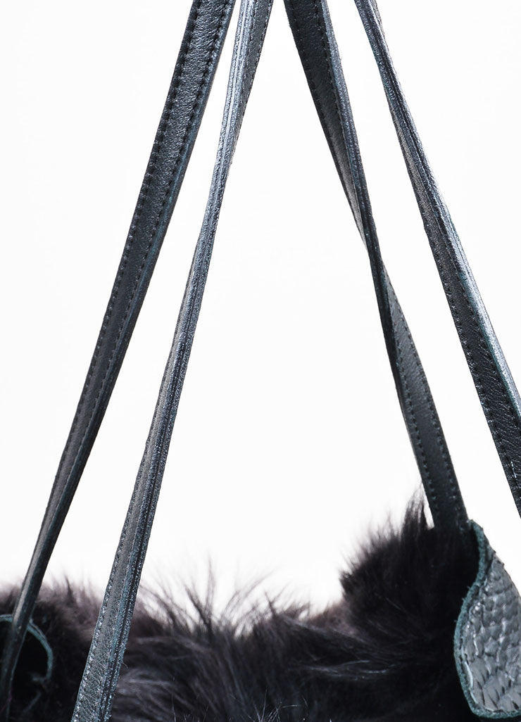 "Carlos Falchi Black Python Leather Fur Hobo ""Bell"" Tote Bag Detail 2"