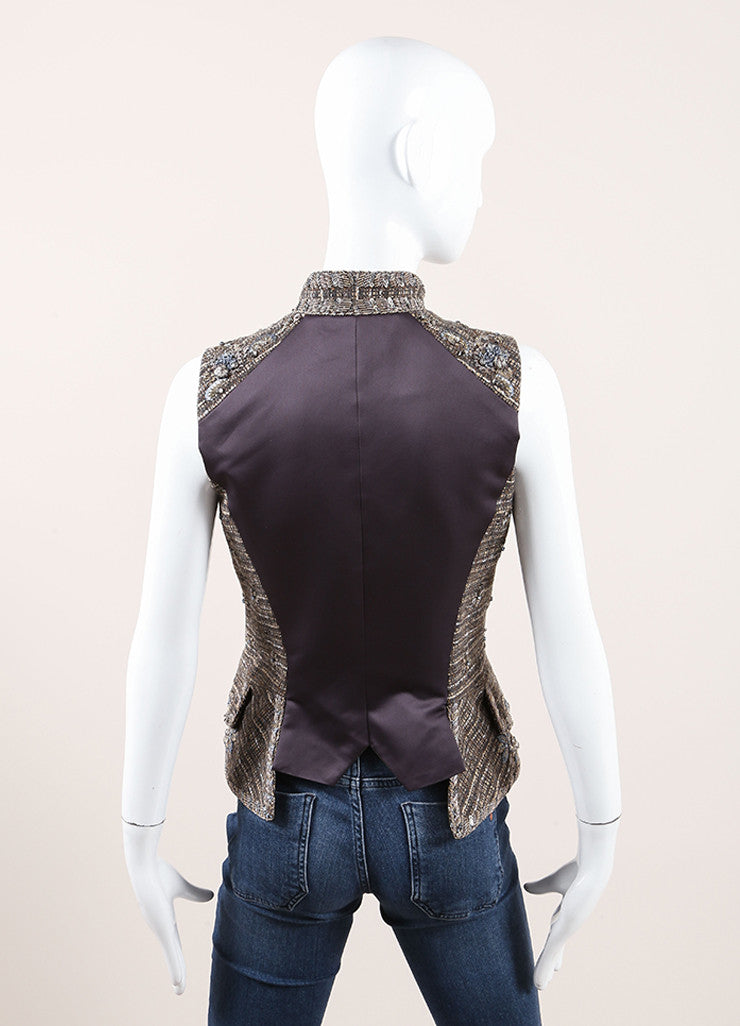 Carolina Herrera Taupe and Blue Wool Tweed Beaded Embroidered Tailored Vest Backview
