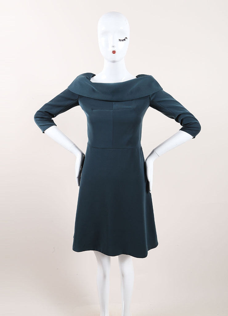 Carven Dark Teal Cuffed Off Shoulder Quarter Sleeve Dress Frontview