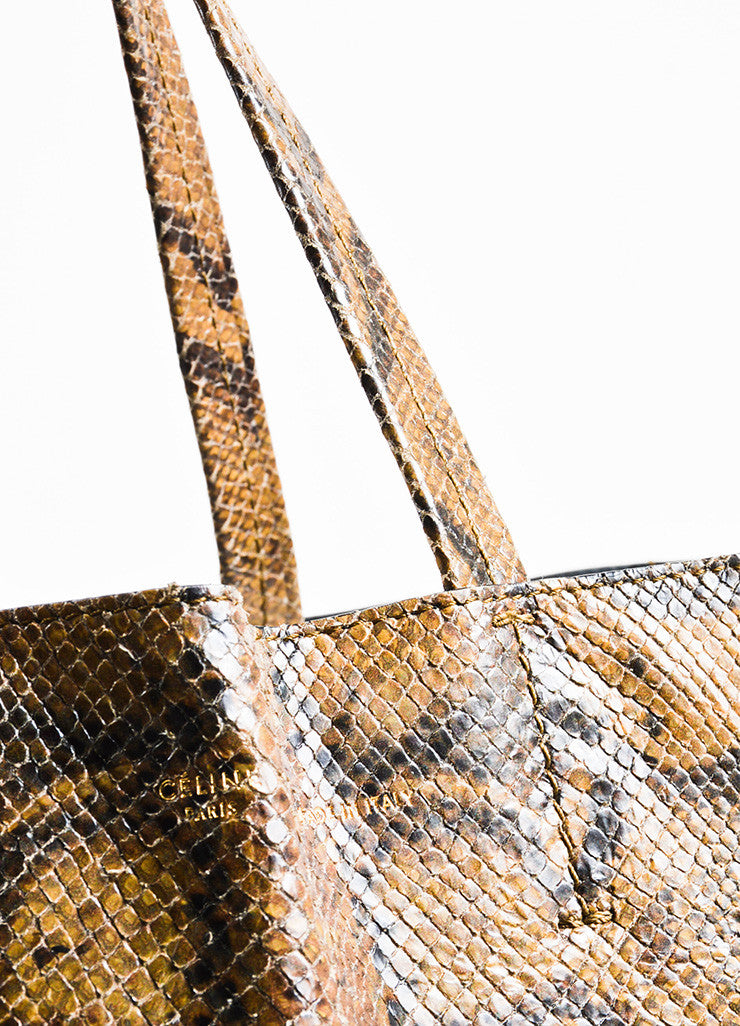 "Celine Brown and Black Snakeskin Embossed Leather ""Vertical Bi-Cabas"" Tote Bag Detail 2"
