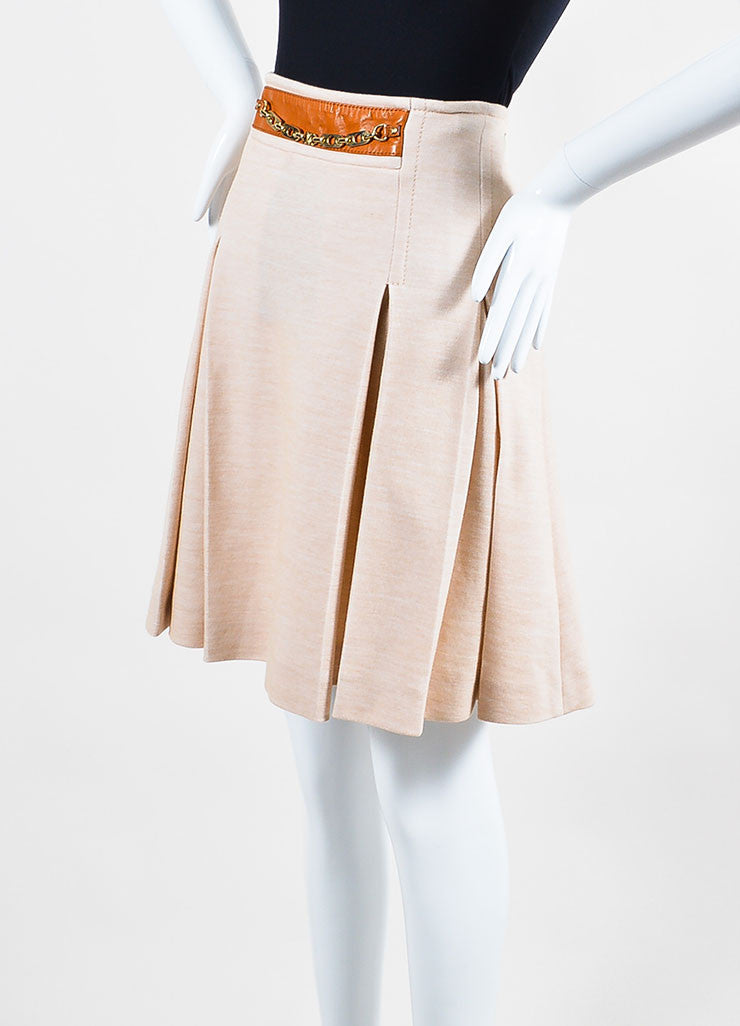 Celine Beige Khaki Tan Cotton Wool Knit Leather Accent Pleated Skirt Sideview