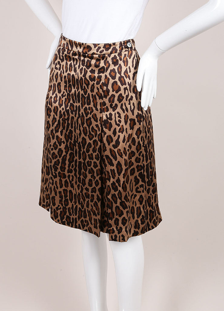 Celine Leopard Print Silk Pleated A Line Skirt Sideview