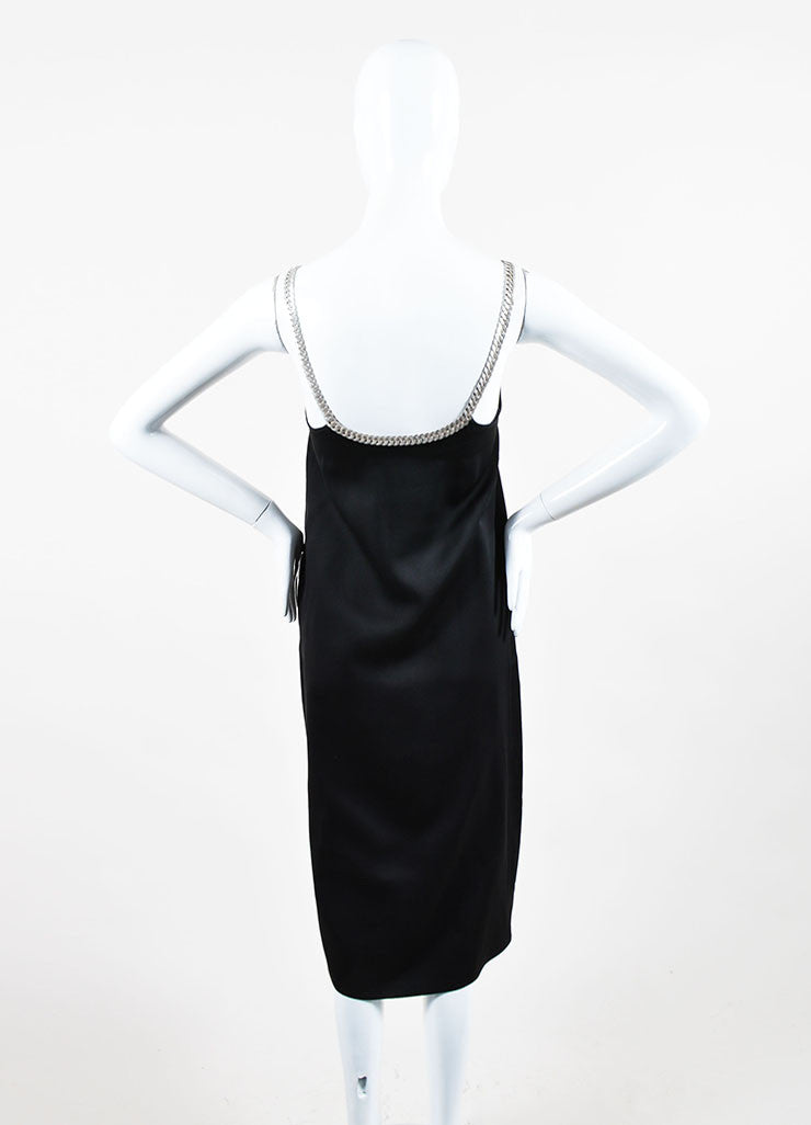 Black and Silver Celine Silk Chain Link Straps Sleeveless Dress Backview
