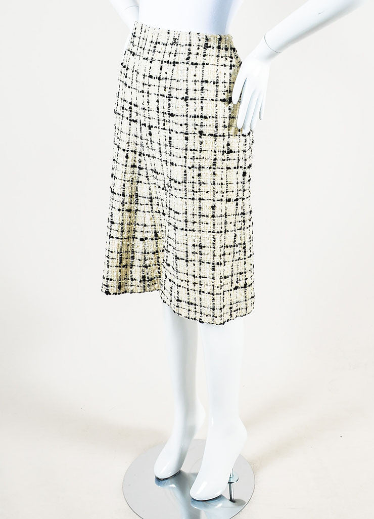 Chanel  Cream Black Check Tweed Textured Sequin A-Line Skirt  Sideview
