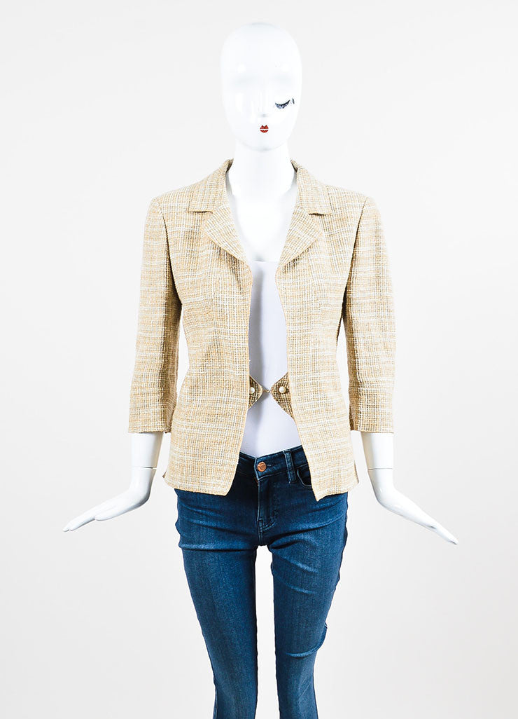 Beige and Cream Chanel Linen and Cotton Blend Tweed Jacket Frontview