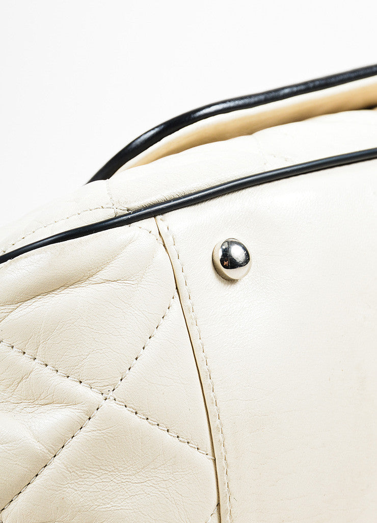 "Cream and Black Chanel Leather Quilted Chain Strap ""East West Accordion"" Bag Detail"