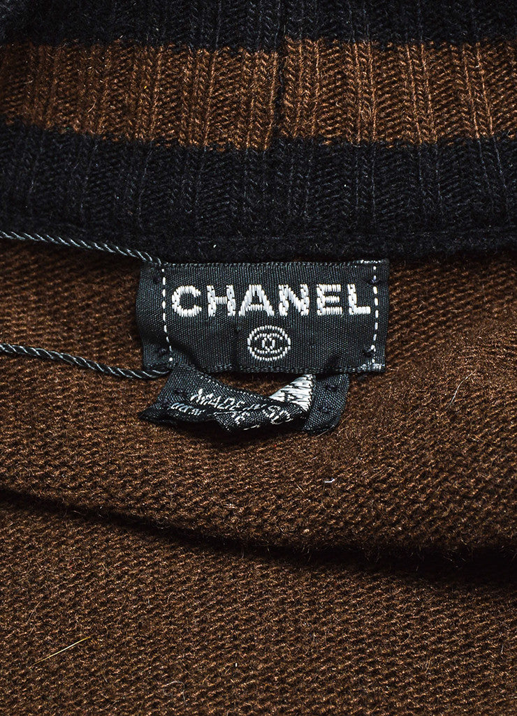 Chanel Black and Brown Wool Striped Purse Button Cardigan Sweater Brand