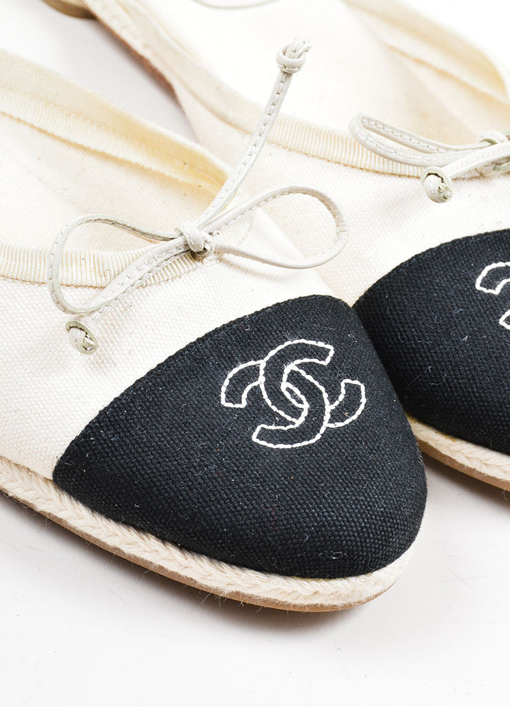 Black and Cream Chanel Canvas Embroidered Ballet Braided Round Toe Slip On Flats Detail