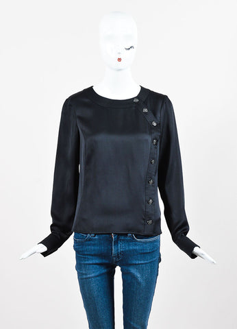 Chanel Black Silk Rounded Neckline Button Down Long Sleeve Blouse Frontview