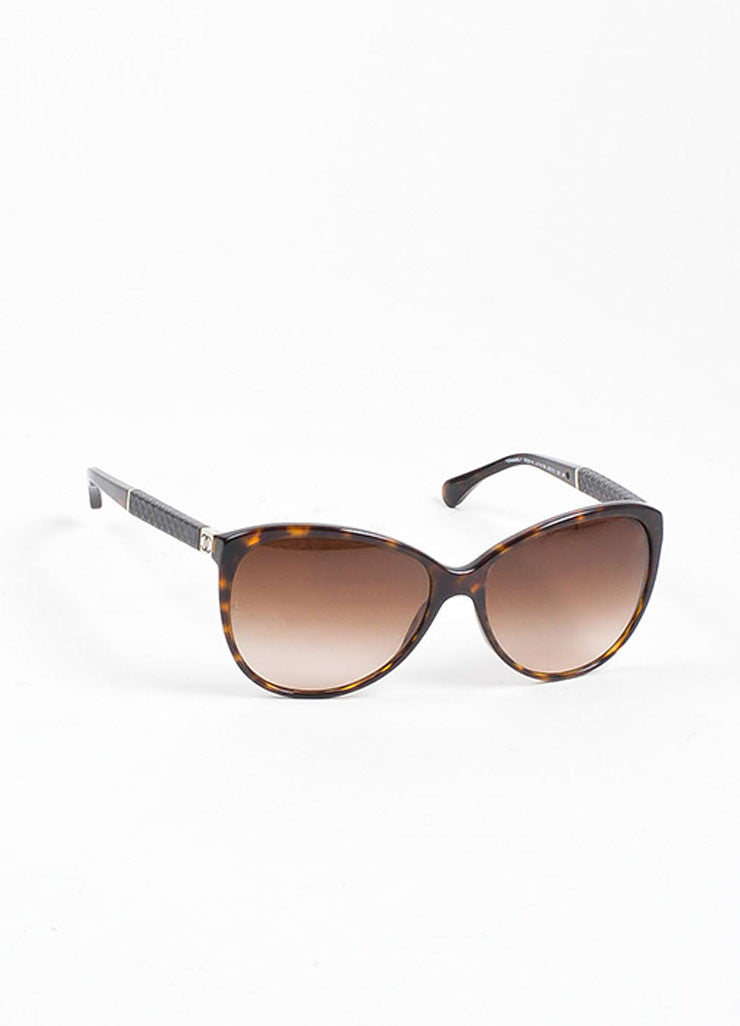 "Brown and Black Chanel Tortoise Quilted Arm ""CC"" Cat Eye Oversized Sunglasses Sideview"