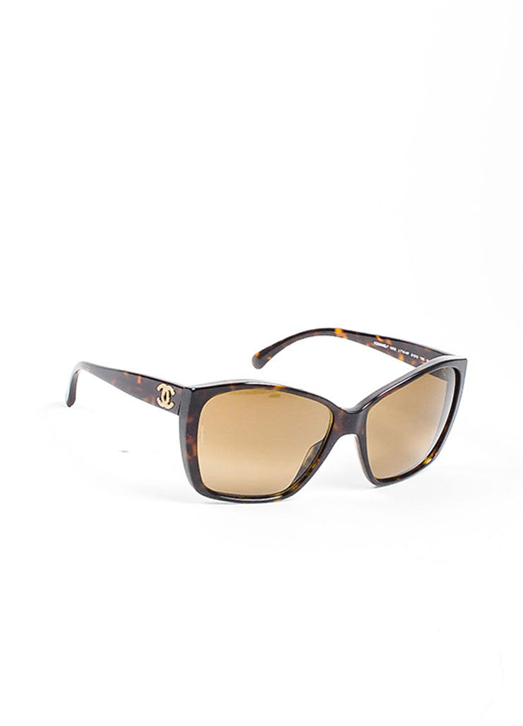 "Brown Chanel Tortoise Shell 'CC' Oversized ""5230"" Square Sunglasses Sideview"