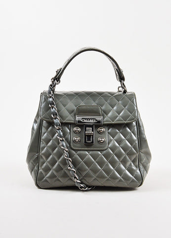 "Chanel Grey Glazed Calfskin Quilted ""Mademoiselle Kelly"" Handbag Frontview"