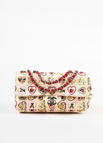 "Chanel Pink and Multicolor Leather Trim Heart Print Limited Edition ""Valentine"" Bag Frontview"