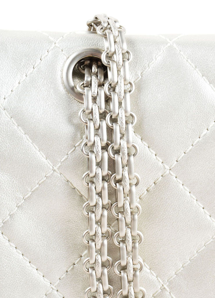 "Chanel Silver Metallic Leather Quilted ""2.55 Reissue"" Double Flap Shoulder Bag Detail 2"