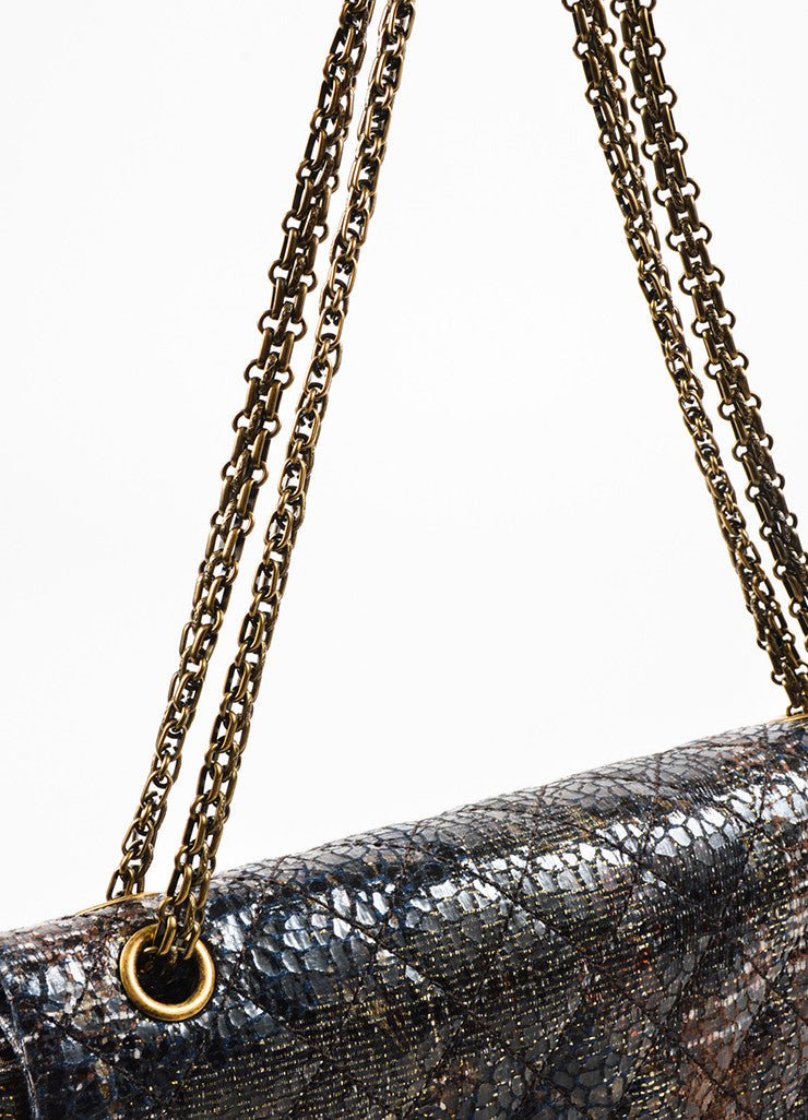 Chanel Special Edition Grey Coated Lacquered Tweed Gold Hardware Crossbody Bag Detail 2