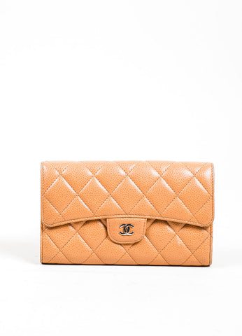 Tan Caviar Leather Quilted Chanel 'CC' Trifold Flap Wallet Frontview