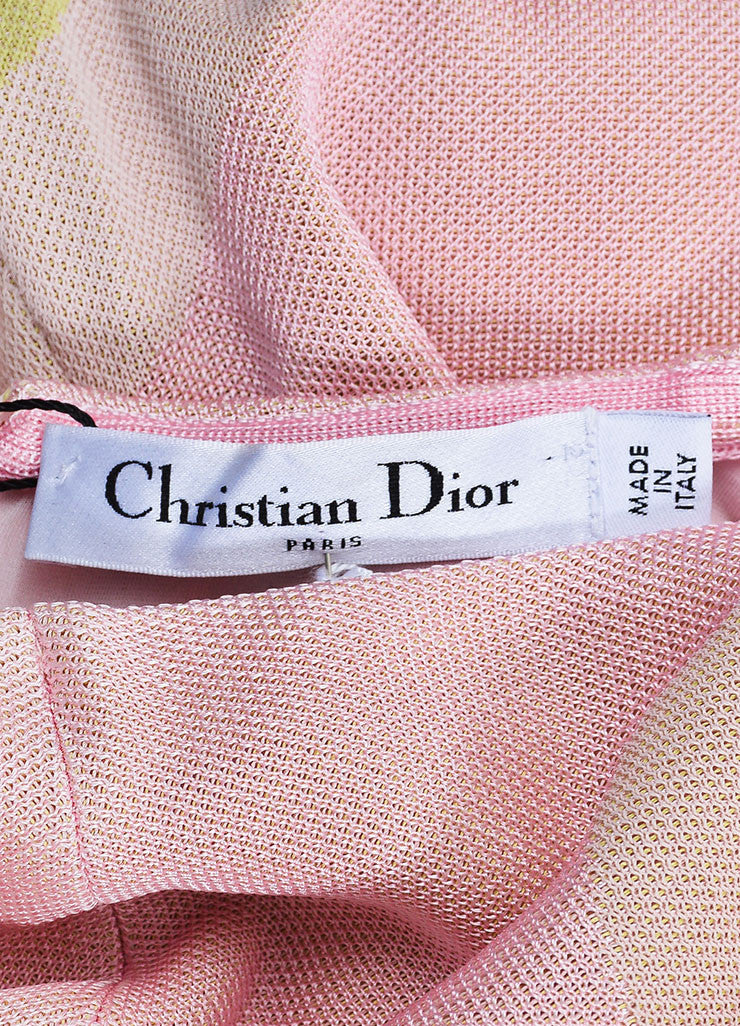 Christian Dior Pink and Cream Jersey Patterned Long Sleeve Maxi Dress Brand