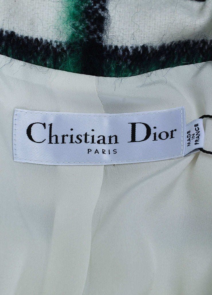 White and Green Christian Dior Wool and Mohair Checked Print Toggle Coat Brand