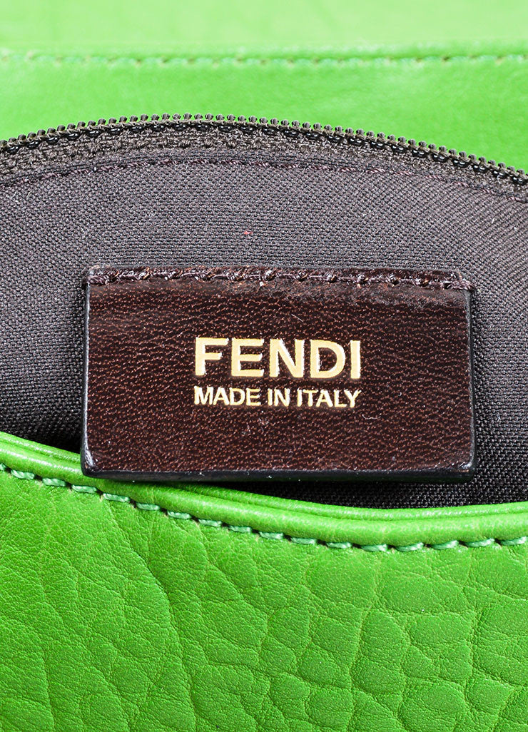 "Kelly Green Fendi Pebbled Leather Chain Strap ""Mia Agnello"" Flap Bag Brand"
