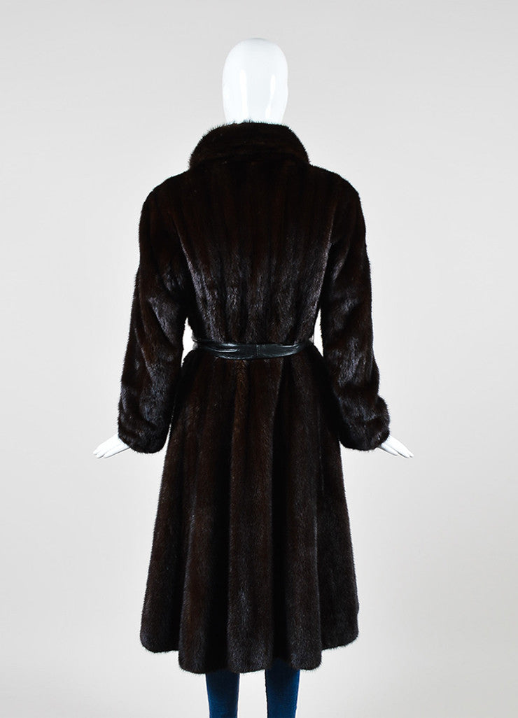 Dark Brown Galanos Fur Belted Long Overcoat Backview