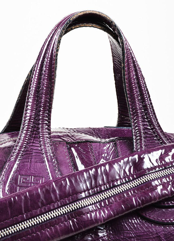 "Givenchy Eggplant Crinkled Patent Leather ""Nightingale"" Satchel Bag Detail 2"