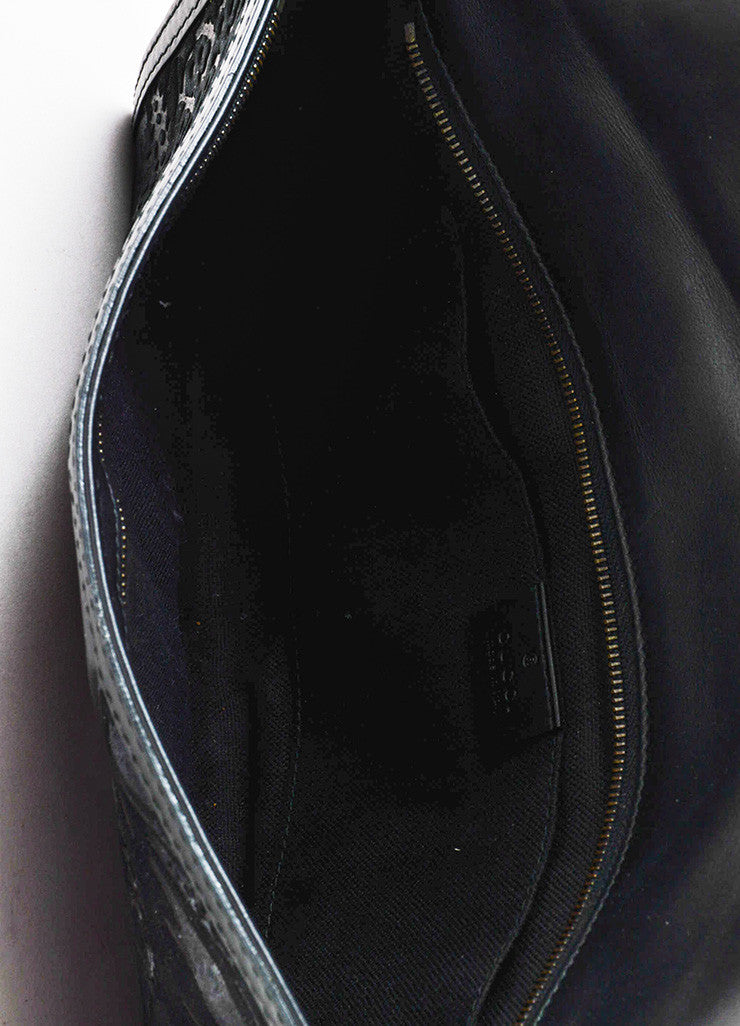 "Gucci Black Suede Leather Distressed Brocade ""Soft Stirrup"" Clutch Bag Interior"