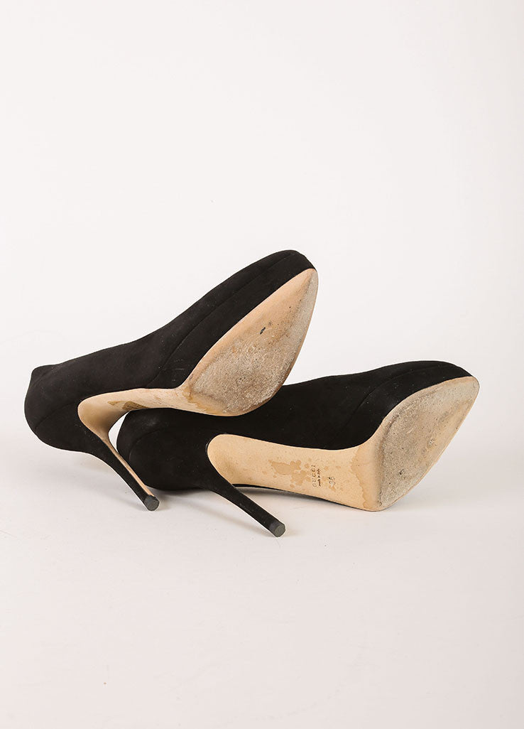 Gucci Black Suede Leather Pointed Toe Platform Pumps Outsoles